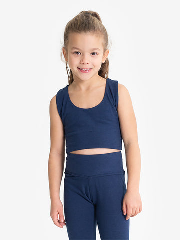 Yogamatters Girls Eco Cropped Yoga Top  - Navy