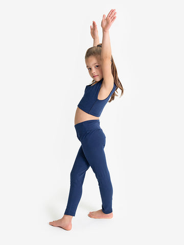 Yogamatters Girls Eco High Waisted Yoga Leggings   - Navy