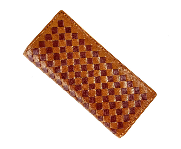 Italian Weave Purse DIY Kit - Saddle Brown with Burgundy Weave