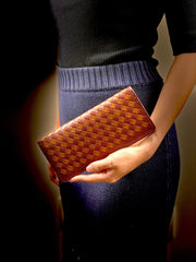Italian Weave Purse DIY Kit - Burgundy with Saddle Brown Weave