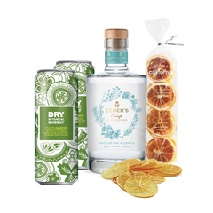 Cedar Crisp cans and a Cucumber Gin glass bottle on a white background