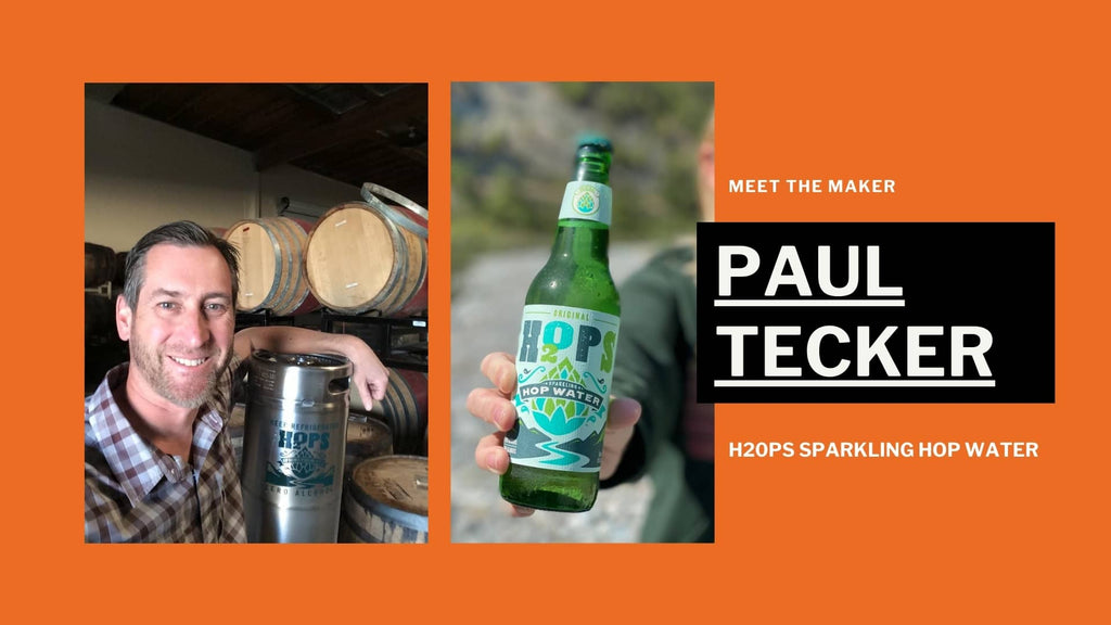 Close-up of Paul Tecker in a barrel cellar and a hand holding H2OPS Sparkling Hop Water against an orange background