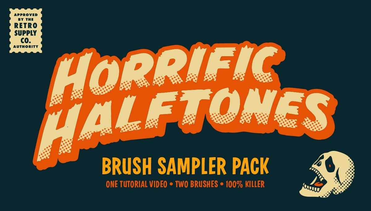 [FREEBIE] Horrific Halftone Brush Sample Pack