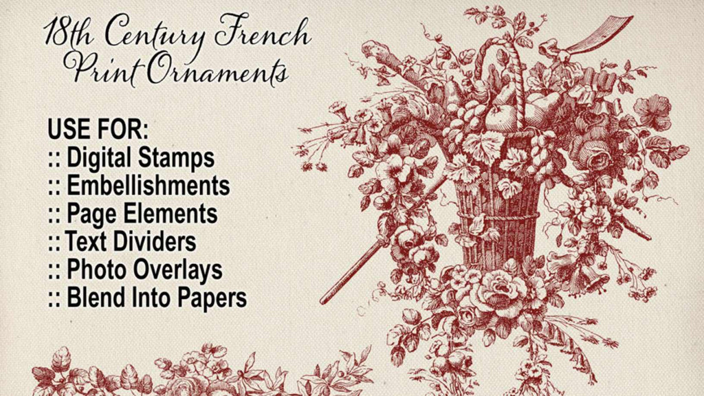 Retro Photoshop brushes: 18 century print ornaments