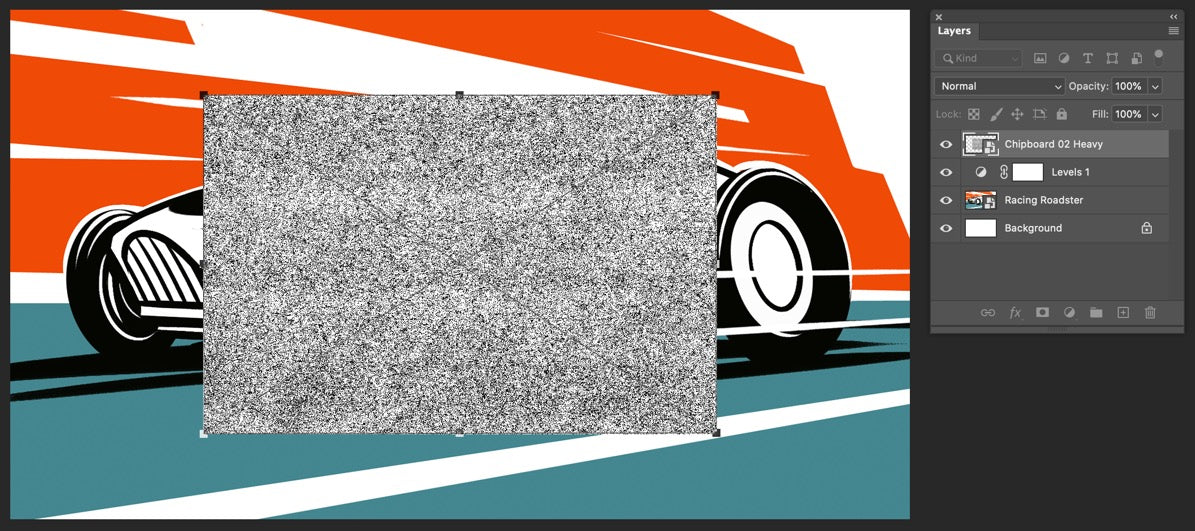 Adding texture to retro race car illustration