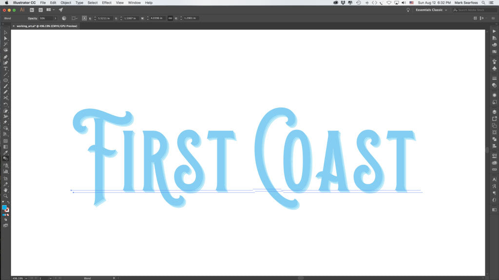 3D vintage type effect using the Blend Tool in Adobe Illustrator