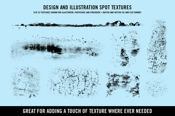 Textures for Illustrator, Photoshop, and Procreate