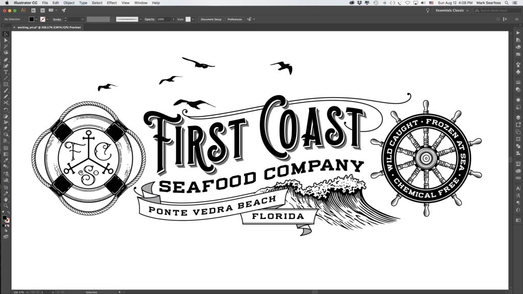 Adding vintage elements to logo design in Adobe Illustrator