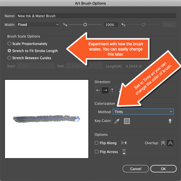 Brush Options Panel Adobe Illustrator