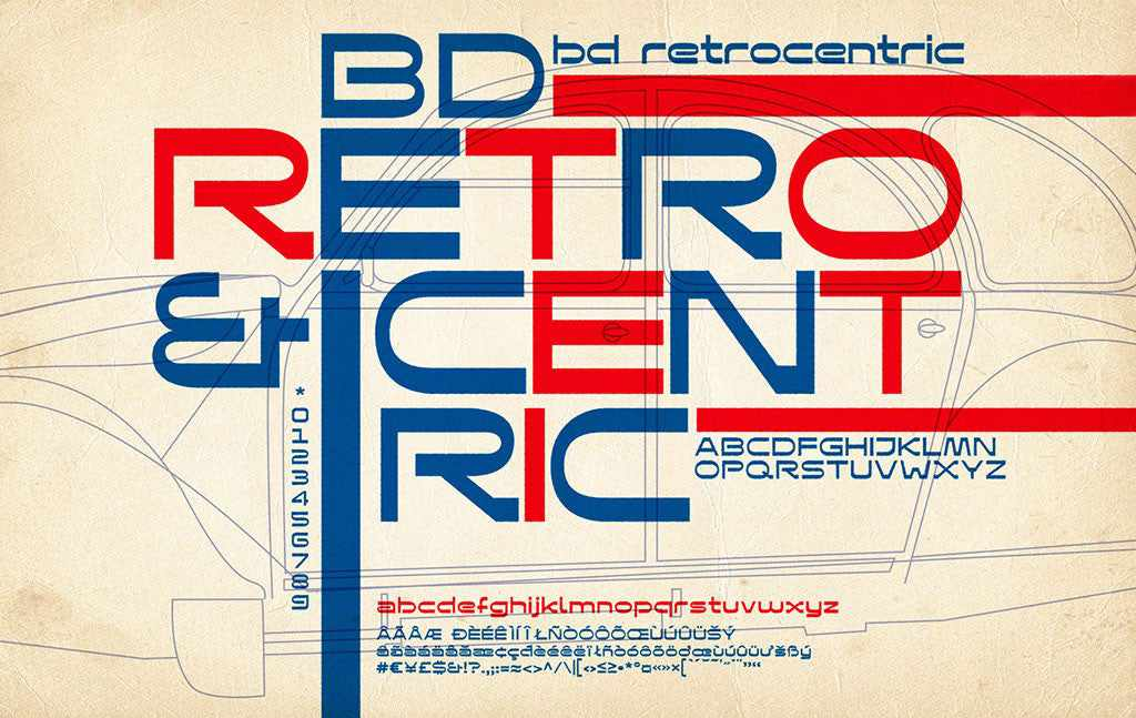 Best-Selling Retro Fonts: Buro Destruct, Retrocentric font