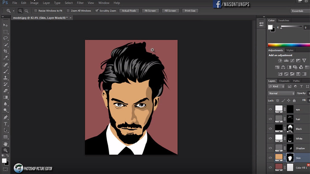 Retro and vintage character design tutorials: Pen tool Photoshop