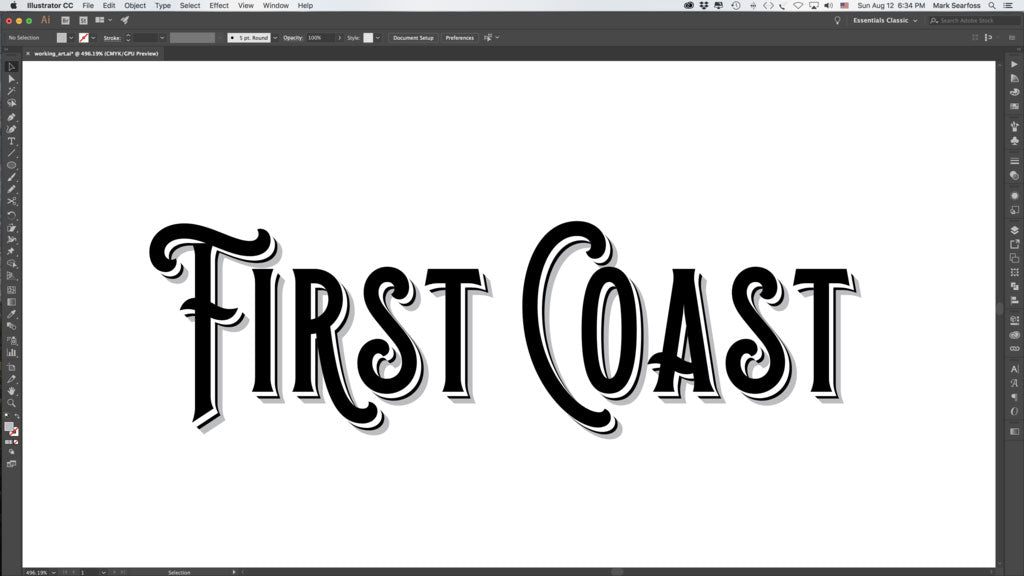 Adding a drop shadow to a vintage logo in Adobe Illustrator