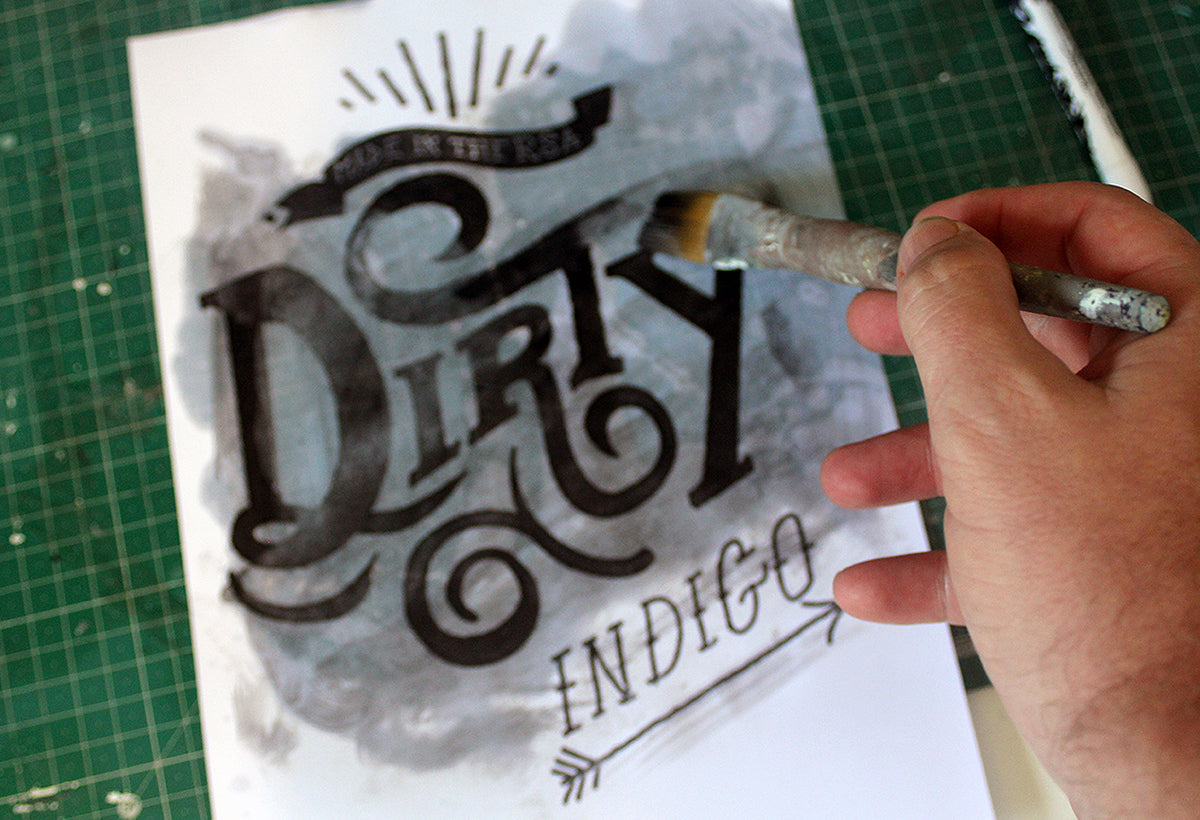 Experiment with a brush on your distressed type