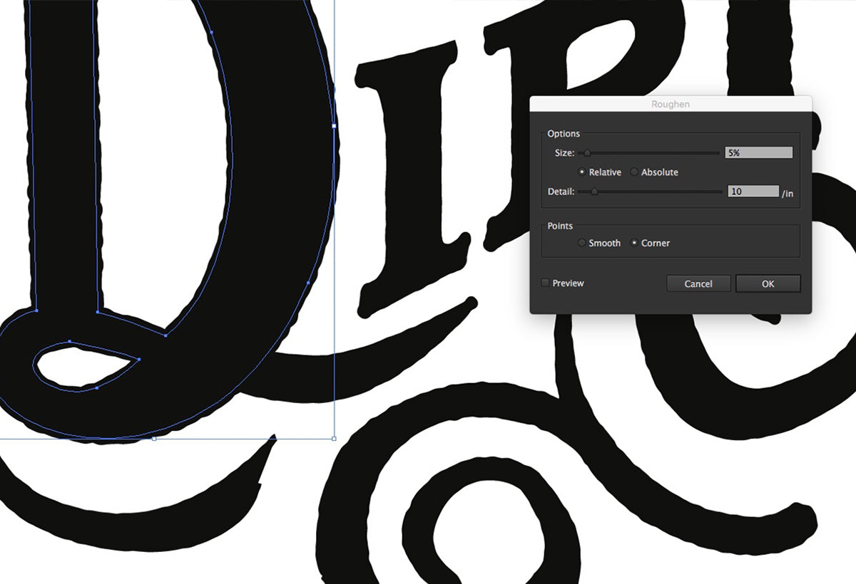 Roughen your typography using Illustrator Roughen tab