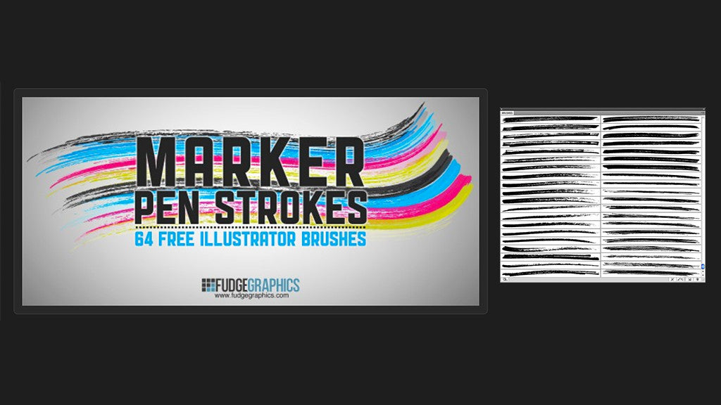 Free Illustrator brushes: Marker Pen Strokes