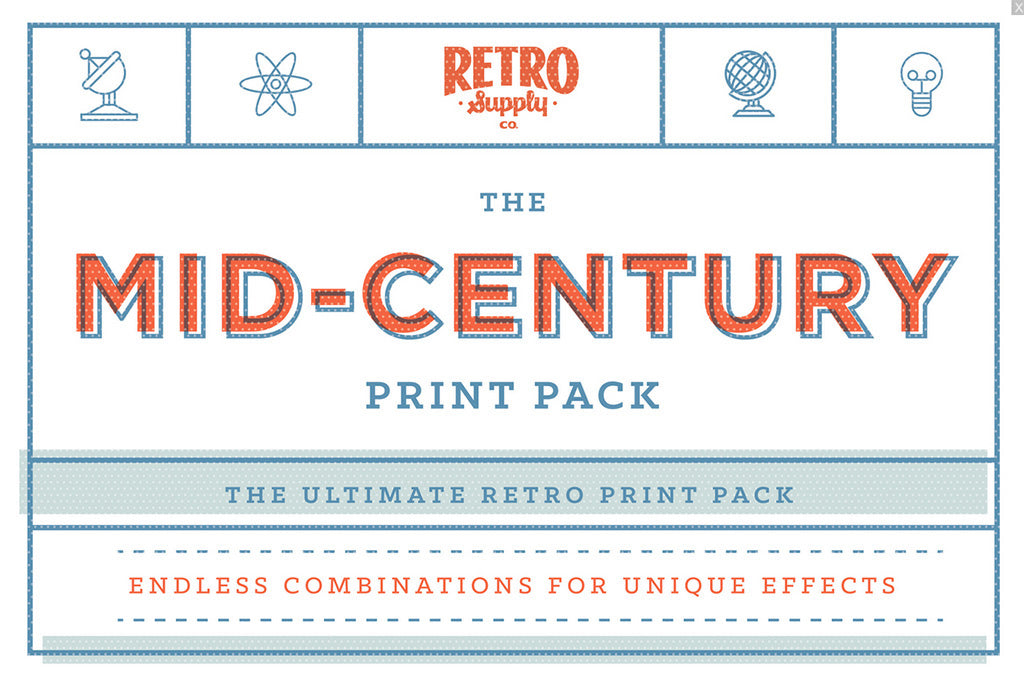 Retro and Vintage Photoshop Actions: Mid Century Print Pack