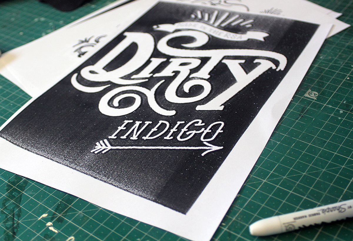 Lettering with photocopy textures
