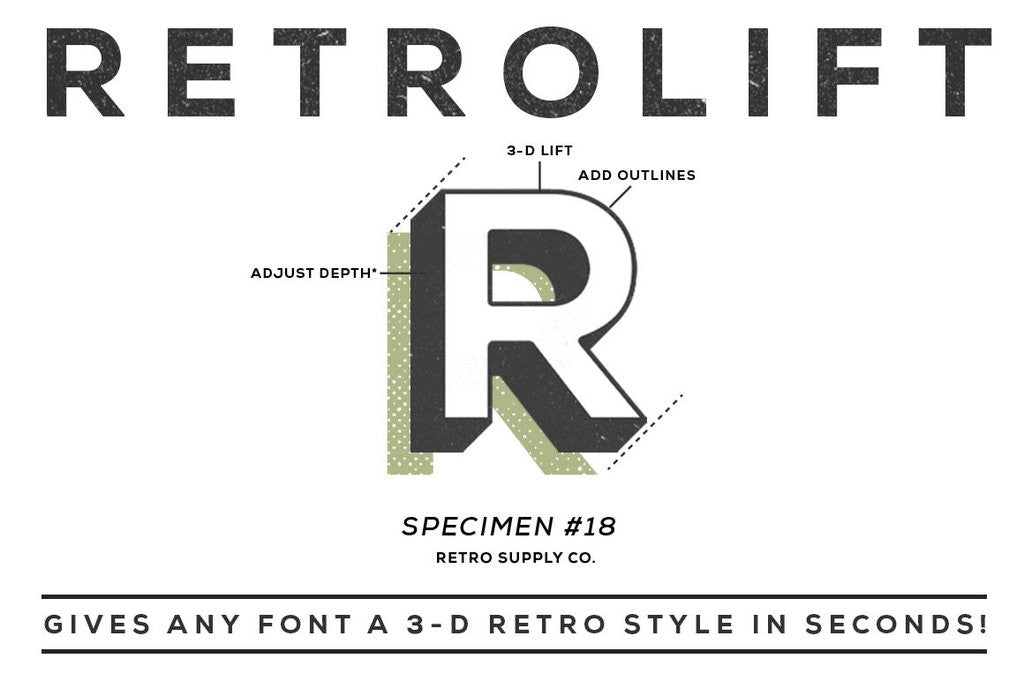 Retro Text Effects: RetroLift Photoshop Actions