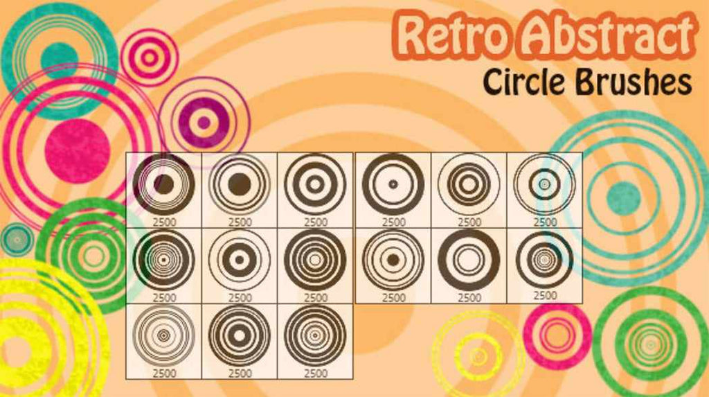Retro Photoshop brushes: retro abstract circles