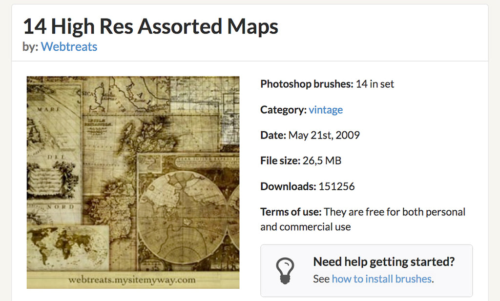 Retro Photoshop brushes: vintage maps