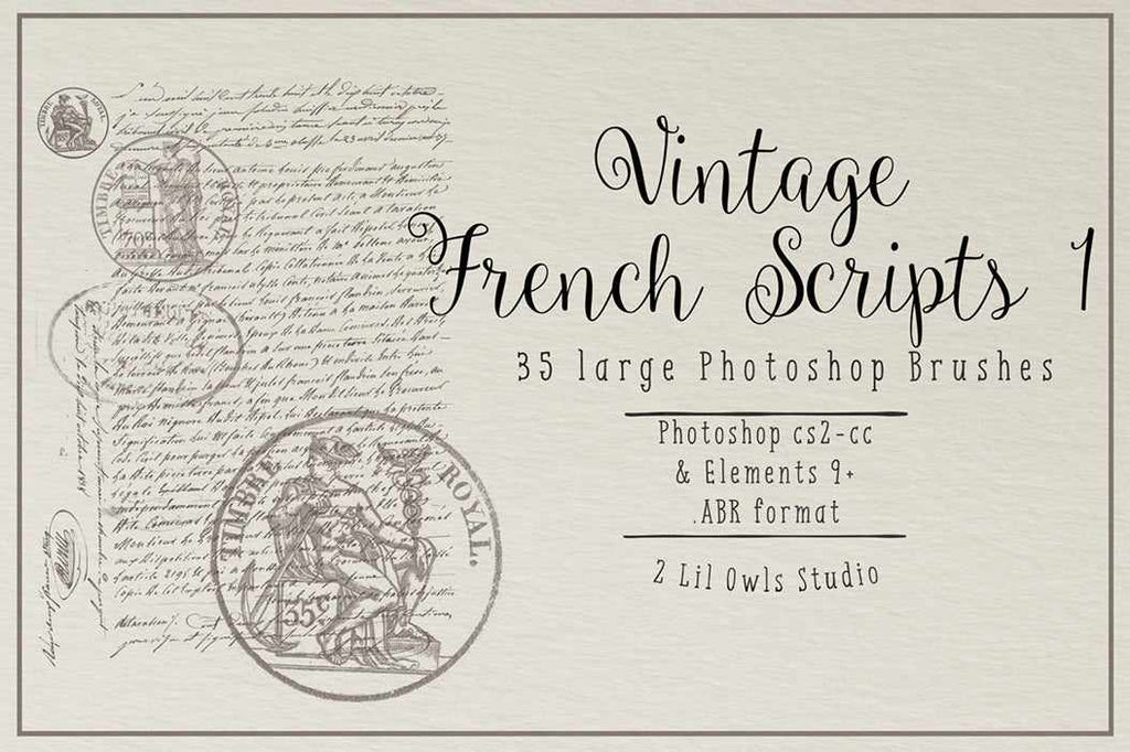 Retro Photoshop brushes: vintage French Scripts