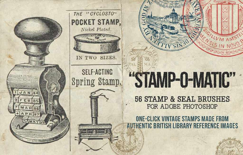 Retro and vintage Photoshop brushes: Stamp-O-Matic