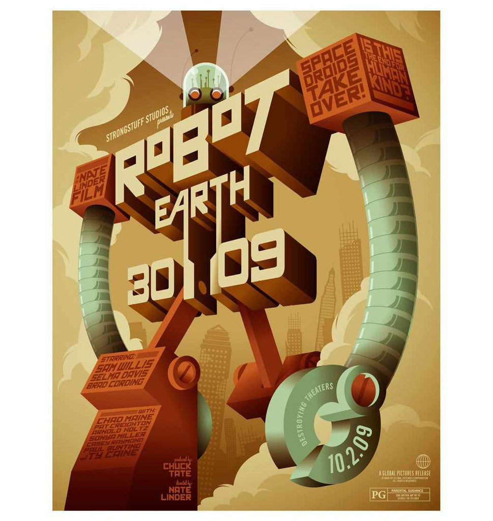 Retro typography tutorials: Robot Earth 3009 Typographic Illustration