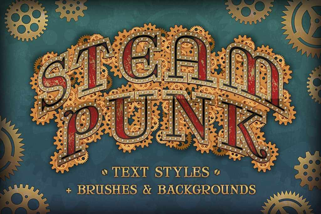 Retro Text Effects: Steam Punk graphic styles for Illustrator