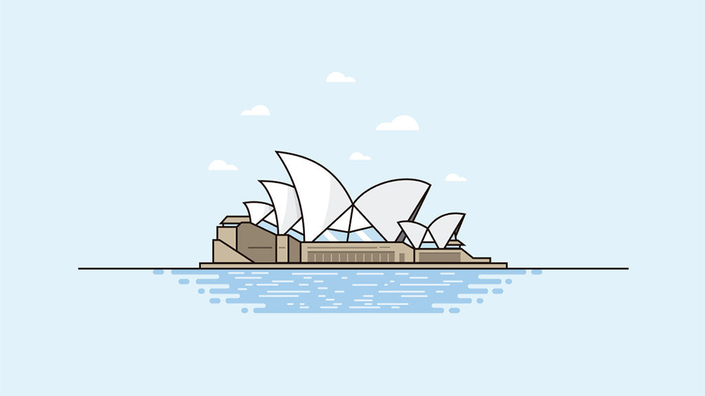 Retro character design tutorials: Sydney opera house