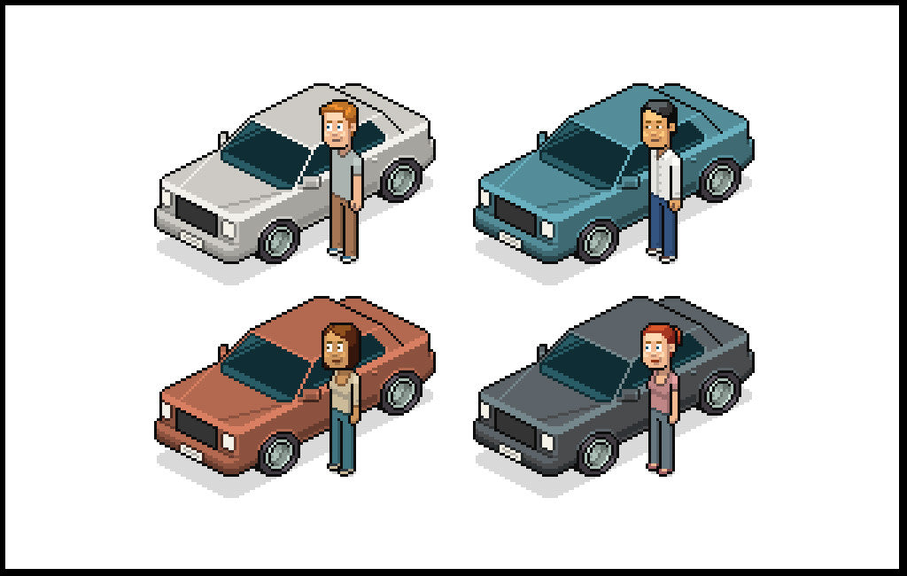 Retro character design tutorials: isometric car