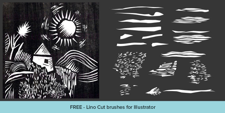 Free Illustrator brushes: retro Lino Cut