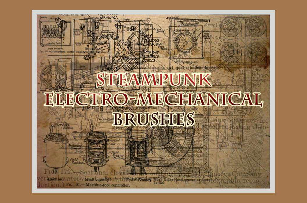 Retro Photoshop brushes: Steampunk machine brushes