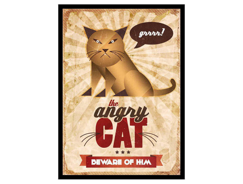 Retro character design tutorials: vintage cat poster