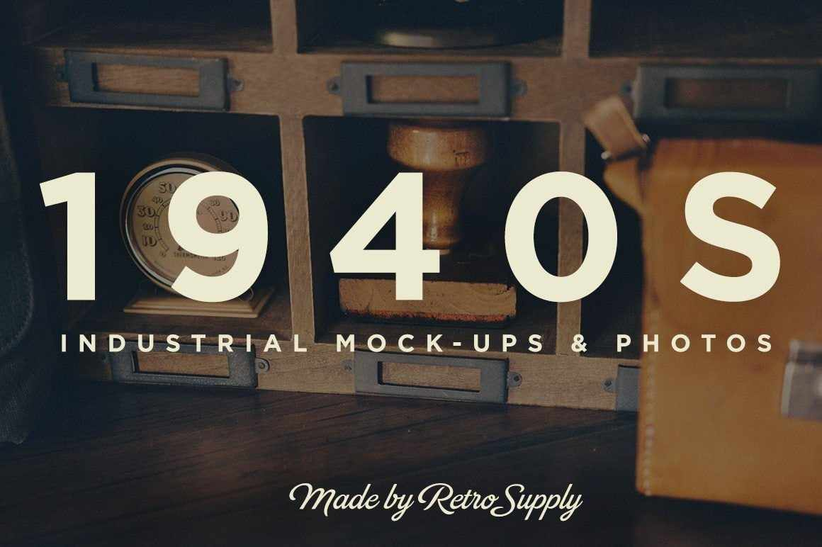1940S Industrial Mock-Up and Photo Set Mockups RetroSupply Co