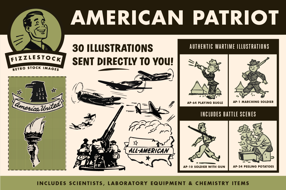 Retro clip art of American eagle, airplanes, soldiers, and United States.