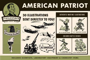 American Clipart including airplanes, soldiers, eagles, and the American flag.