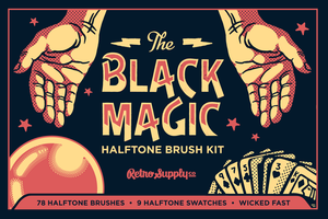 Black Magic Halftone Pattern Brushes for Illustrator