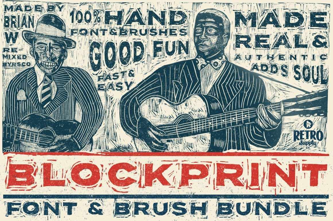 Blockprint Font & Brush Pack Fonts RetroSupply Co