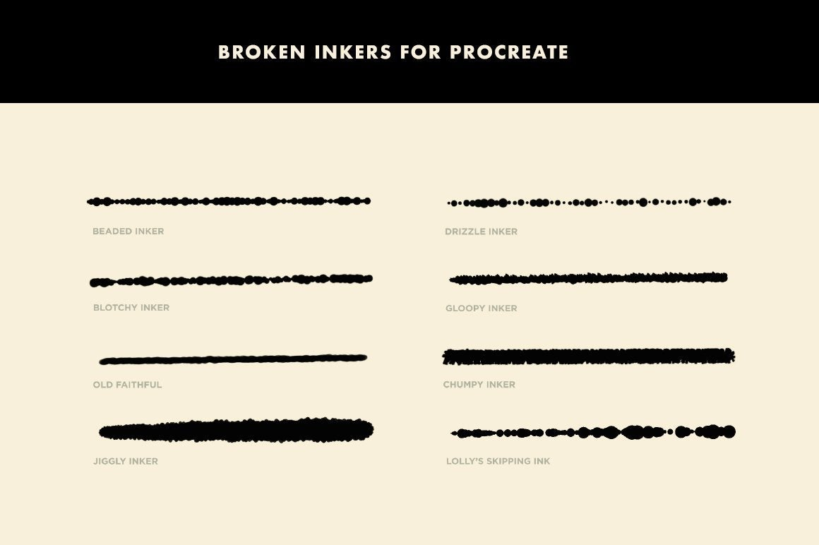 Broken Inkers Brush Set for Procreate Procreate Brushes RetroSupply Co.