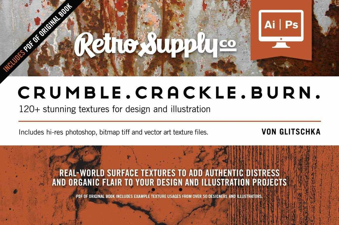 Crumble Crackle Burn | Ebook & Texture Pack Resources RetroSupply Co.