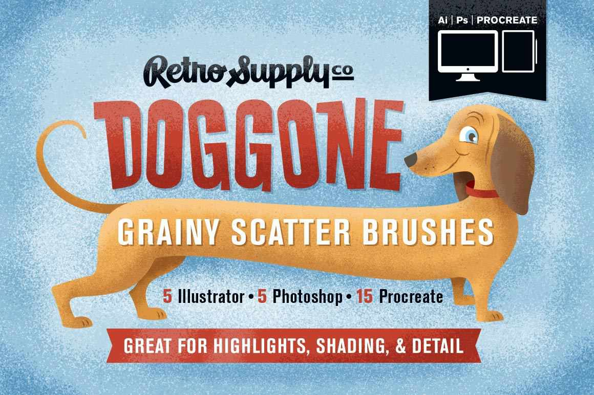 Doggone Grainy Scatter Brushes by Von Glitschka | for Illustrator Adobe Illustrator RetroSupply Co.