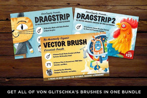 DragStrip 1 and DragStrip 2 Paint Brushes for Adobe Illustrator by Von Glitschka