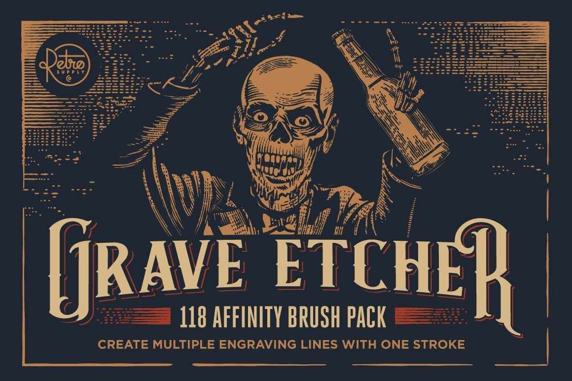 Grave Etcher | Vector Engraving Brushes for Affinity Designer Adobe Illustrator RetroSupply Co.