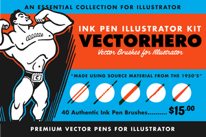 VectorHero Ink Brushes for Adobe Illustrator by RetroSupply