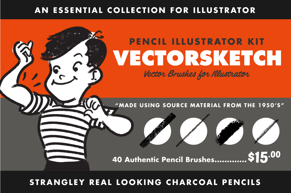 VectorSketch Pencil and Sketching Brushes for Adobe Illustrator by RetroSupply