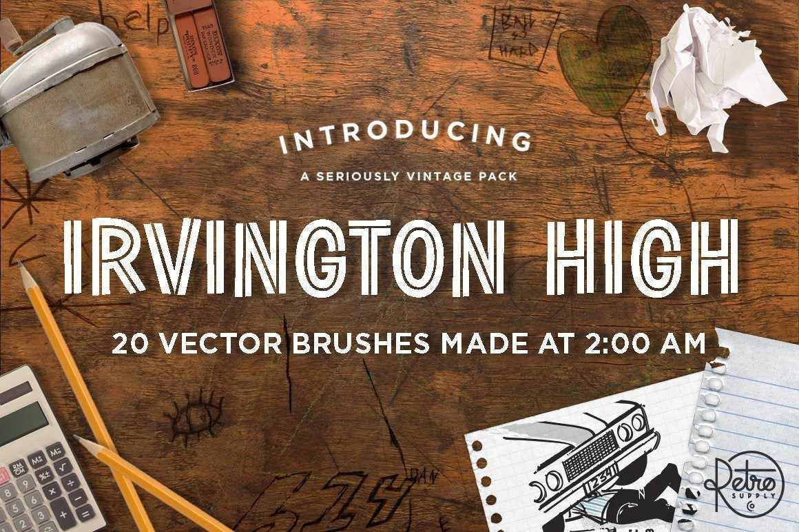 Irvington High Vector Brushes Adobe Illustrator RetroSupply Co