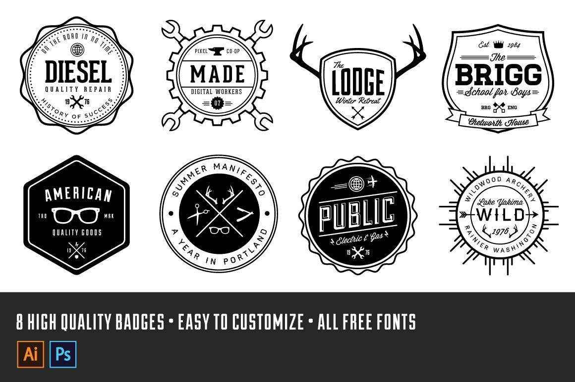 vintage logo badge kit volume 1 retrosupply co. Black Bedroom Furniture Sets. Home Design Ideas