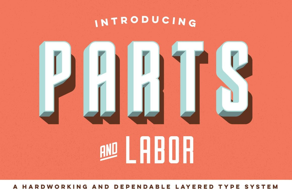 Parts and Labor Font Family Fonts RetroSupply Co