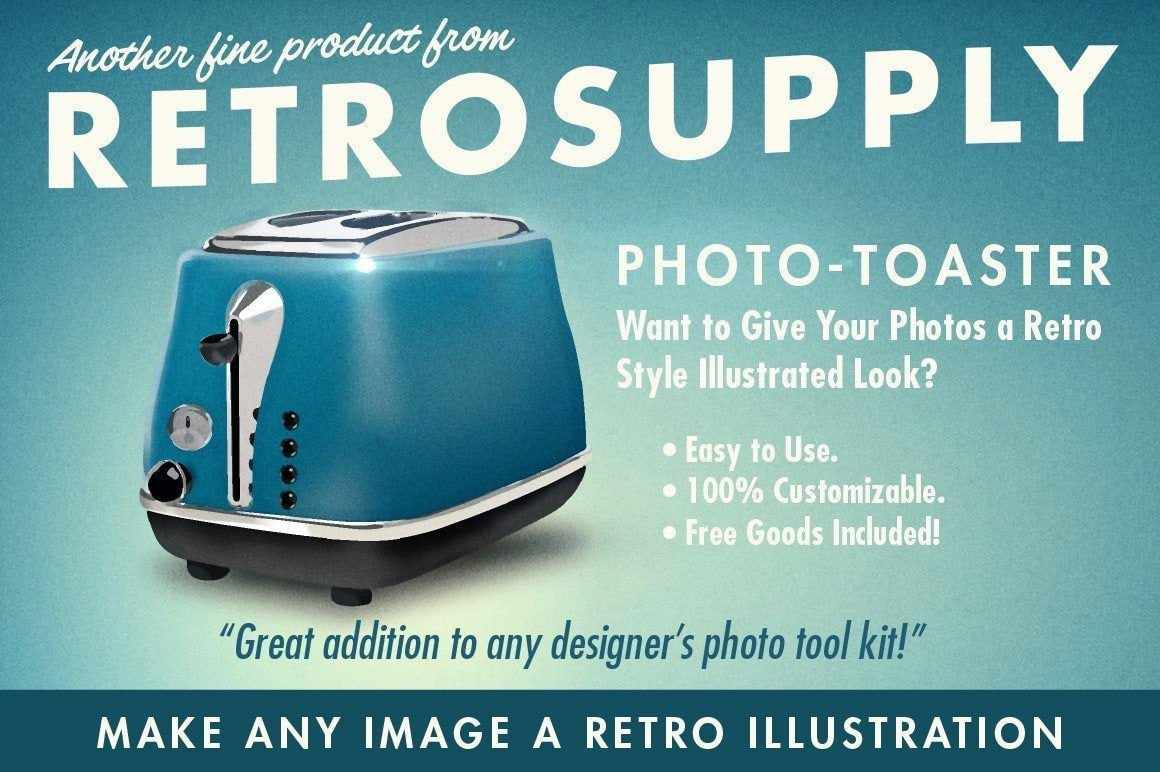 PhotoBaker | Illustrative Photoshop Action Adobe Photoshop RetroSupply Co