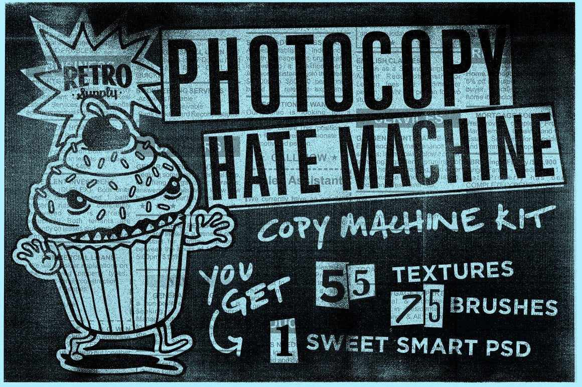 Photocopy Hate Machine | Photoshop Bundle Adobe Photoshop RetroSupply Co